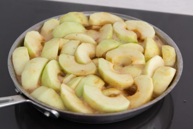 Partially Cooked Apples in Caramel Sauce