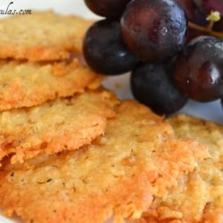 Cheese Crisps - On Plate with Red Grapes on Side