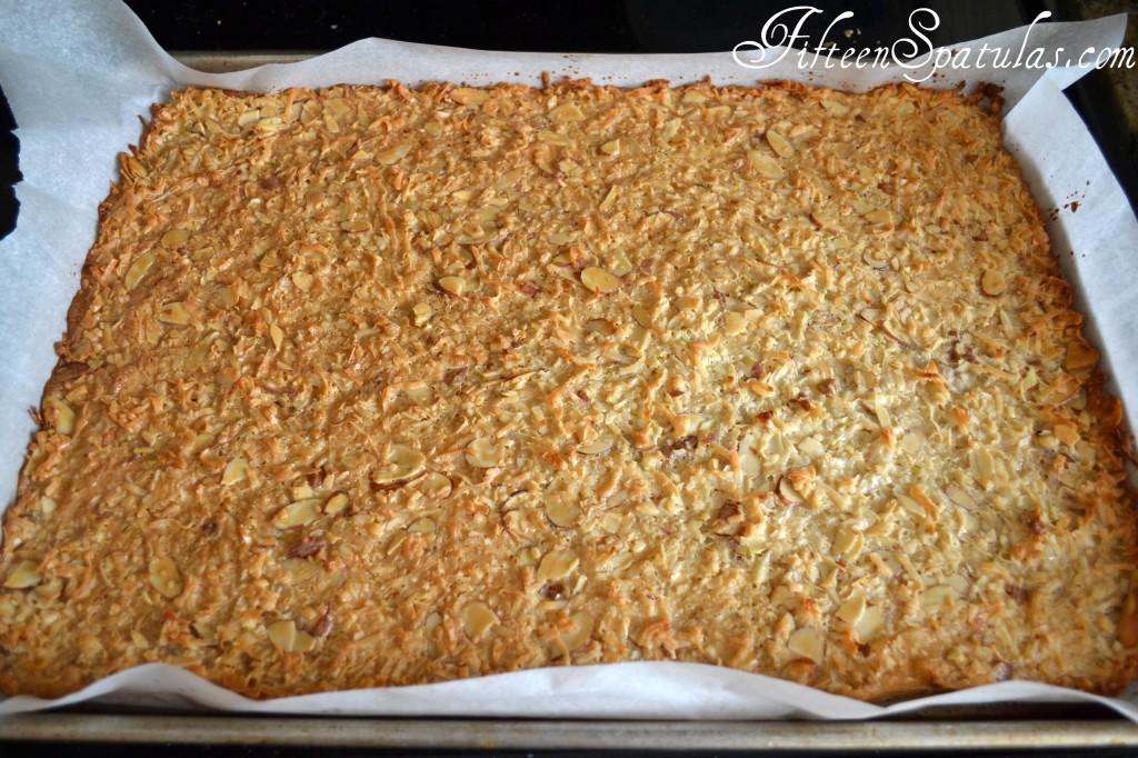 Coconut Dulce de Leche Bark Baked on Pan