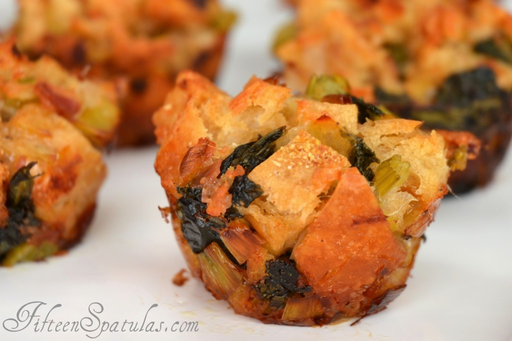 Mini Stuffing Cups for Thanksgiving - on White Platter