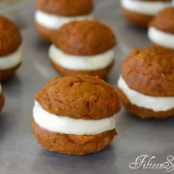 Pumpkin Whoopie Pies - On Tray With Vanilla Cream Cheese Filling
