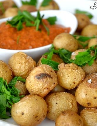 Roasted Baby Potatoes with Romesco Dip