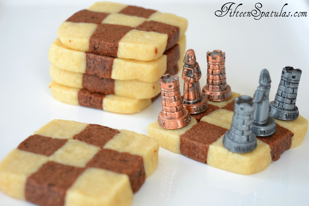 Checkerboard Cookies - In Stacks with Chess Pieces on Top