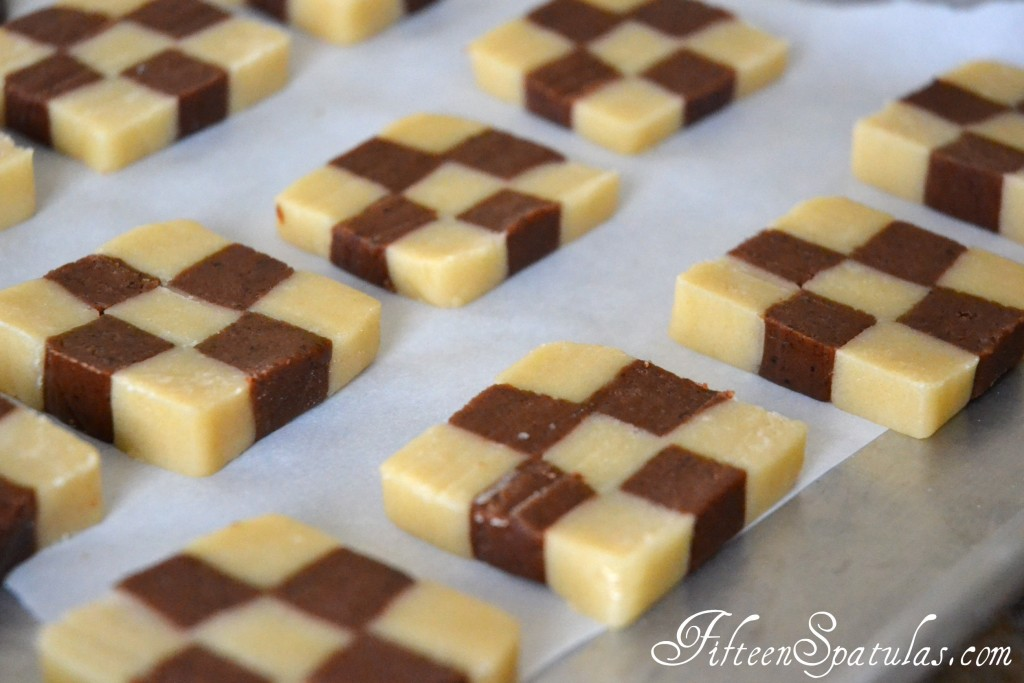 Checkerboard Cookies Recipe Batch on Parchment Lined Baking Tray Ready to bake