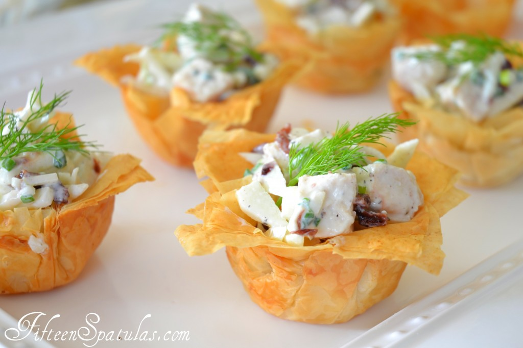 Phyllo Cups - On White Platter and Filled with Chicken Salad