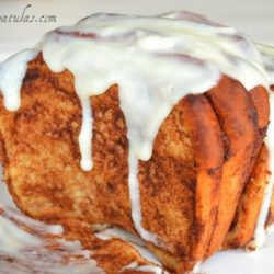 Cinnamon Bread with Icing Dripping Down
