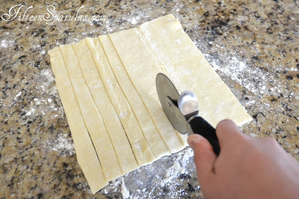 Cutting Puff Pastry into Strips with Pizza Cutter
