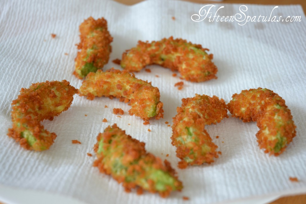 Deep Fried Avocado with Panko on Paper Towel to Drain