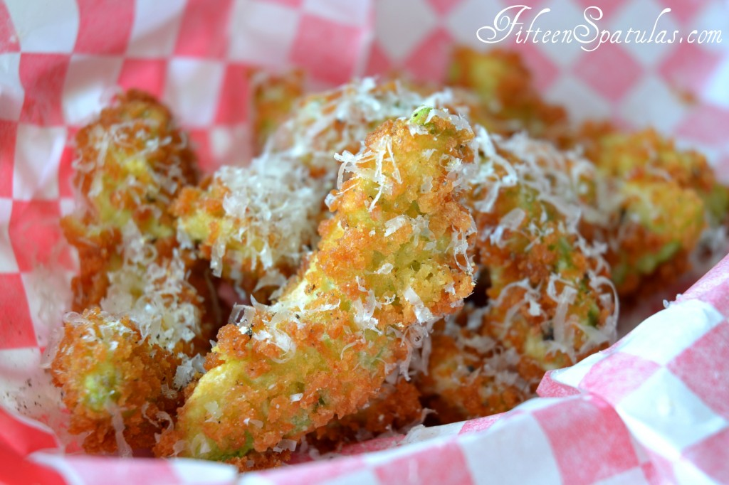 Avocado Fries - On White Red Checker Paper and Cheese Sprinkled on Top