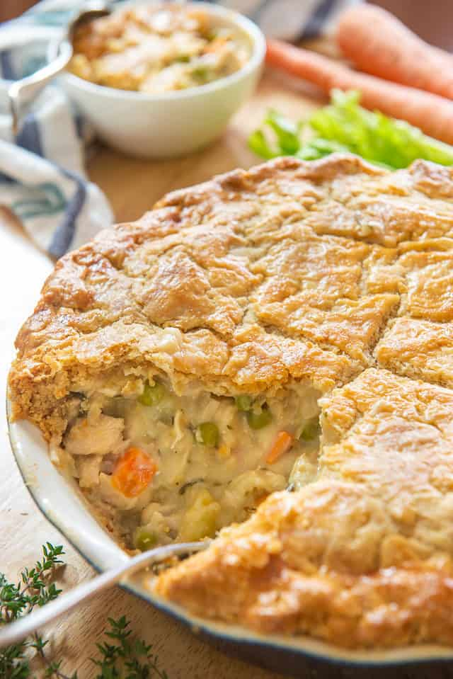 Chicken Pot Pie - with a Piece Taken To Show Vegetable Chicken Filling