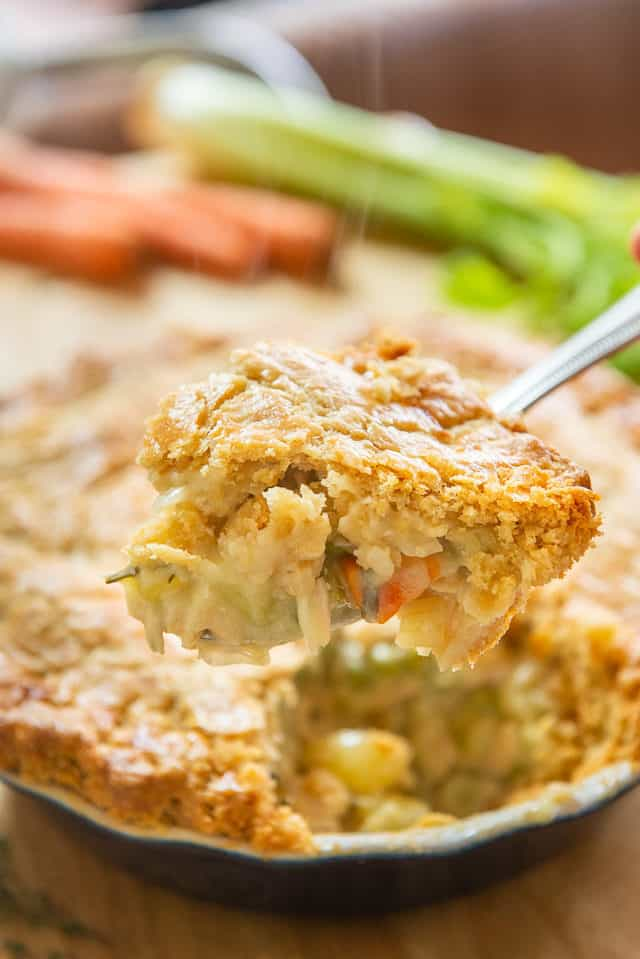 Best Chicken Pot Pie Recipe - Presented On a Spoon with Steam Coming Up