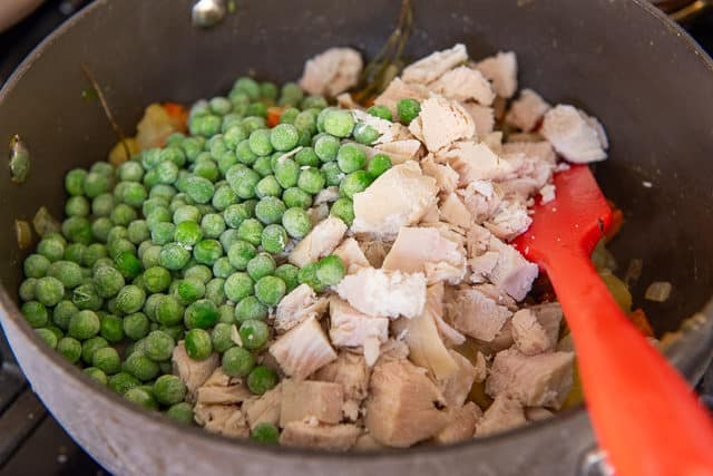Chicken Breast Cubes and Peas Added to Pot