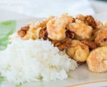 Honey Walnut Shrimp on Platter with White Rice