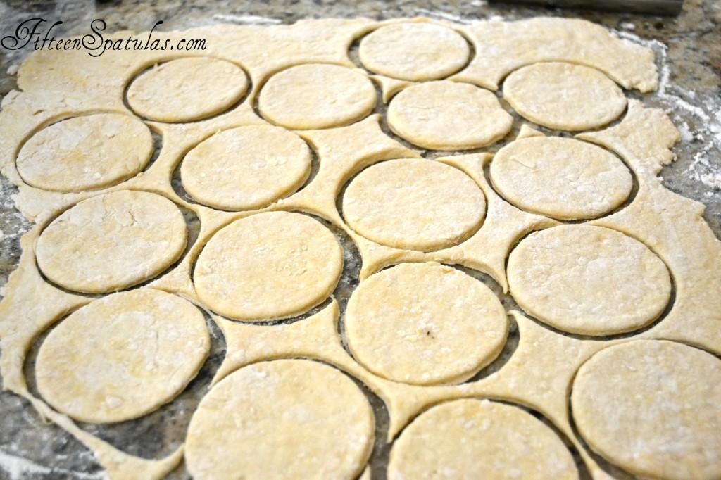 Pierogie Dough Circles Cut on Countertop