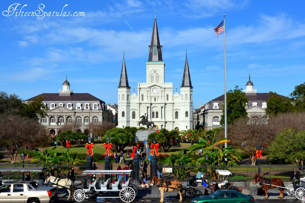 A car parked in front of Jackson Square