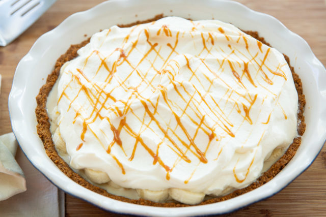 Banoffee Pie Recipe - Presented in a Ceramic Pie Plate with Caramel Drizzle