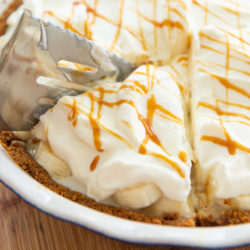 Banoffee Pie Slice in a Pie Plate with Pie Server