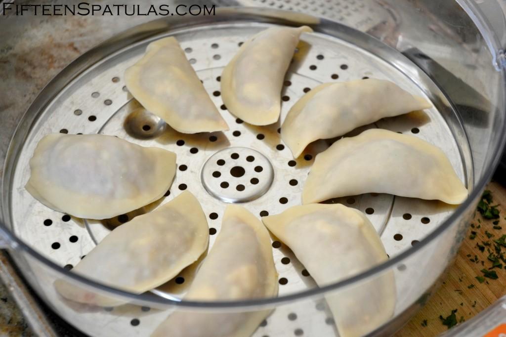 Homemade Asian Dumplings on Steamer Basket