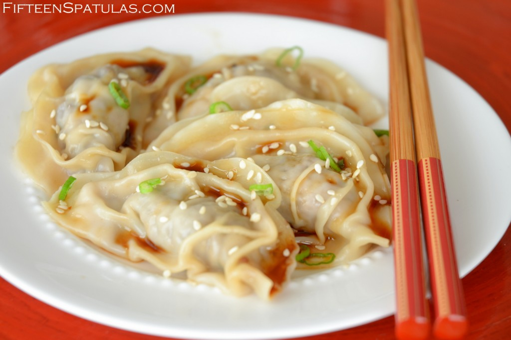 Asian Dumplings - on White Plate with Sauce, Green onion, and Scallions on Top