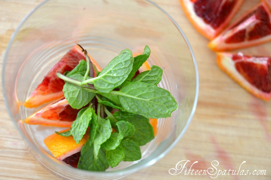 Fresh Mint and Blood Orange Slices in Glass to be Muddled