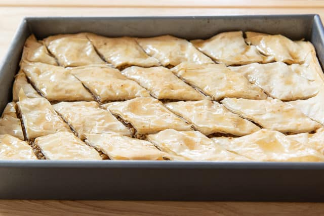 Greek Baklava in Diamond Pieces in 9x13 Metal Pan