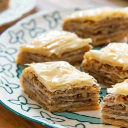 Baklava Served in Diamonds On blue Plate