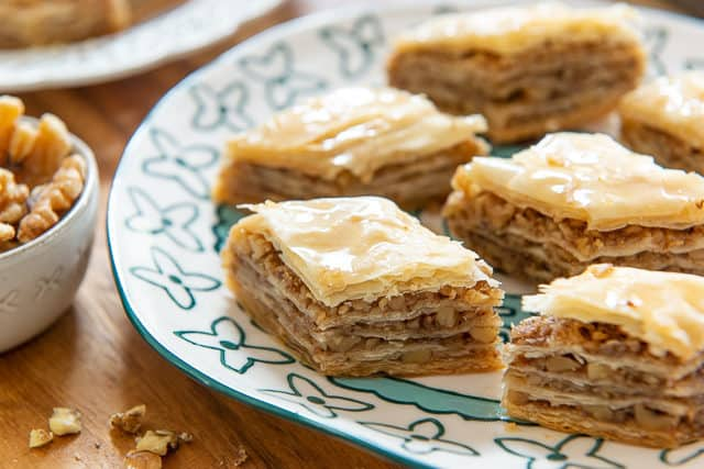 Baklava Recipe - Presented on Blue Plate in Diamond Cut Shape