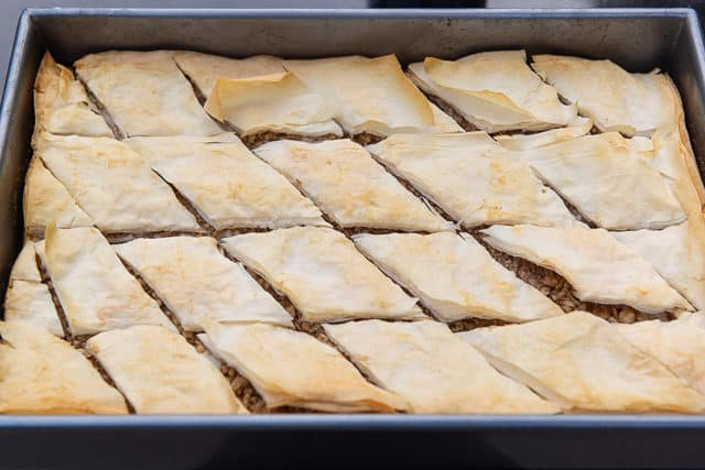 Baklava Dessert - Partially Baked and Cut Into Diamond shape