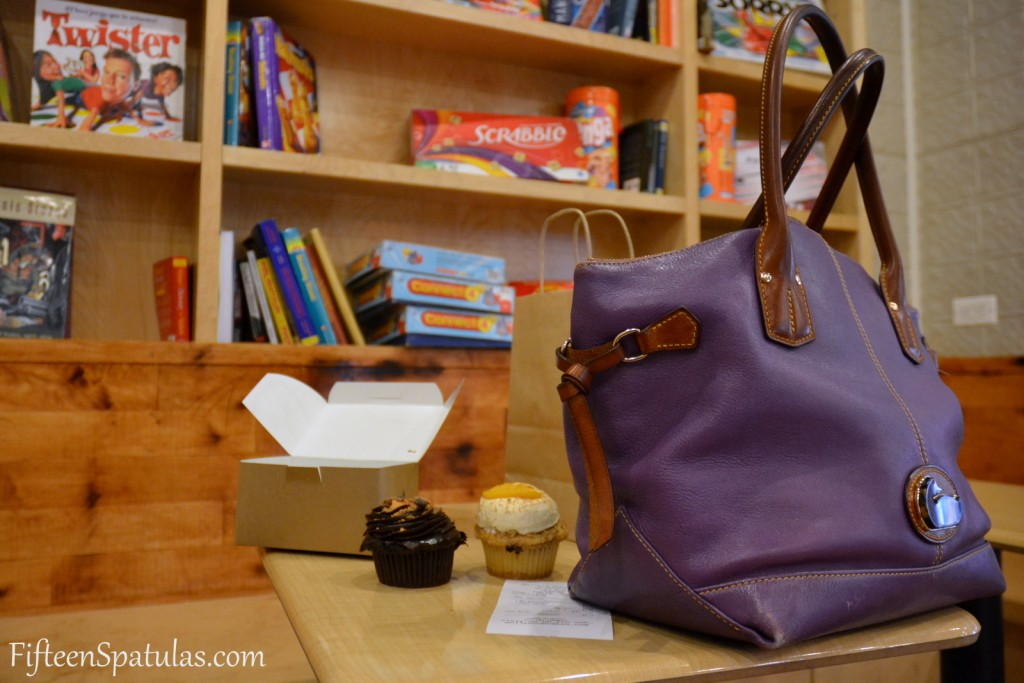 Two Cupcakes and Purse at Molly\'s Cupcakes in NYC