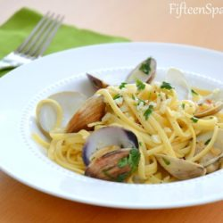 Linguine Vongole - In White Bowl with Garlic and Clams