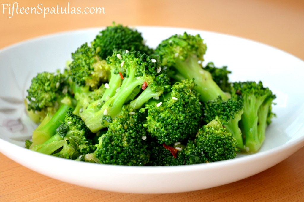 Asian Broccoli Salad - In White Dish with Sesame Seeds