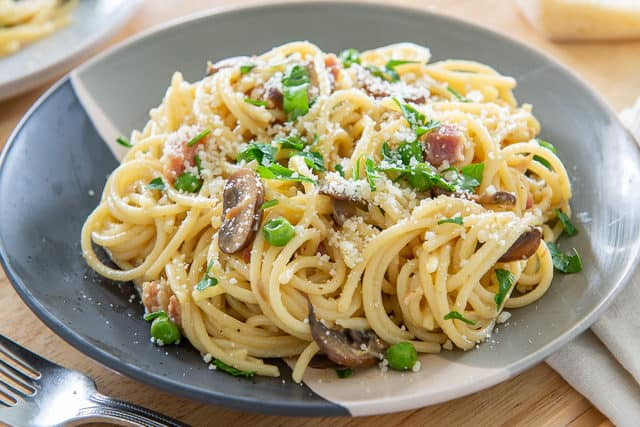 Carbonara - Spaghetti Pasta with Pancetta, Mushrooms, and Egg Yolk Sauce