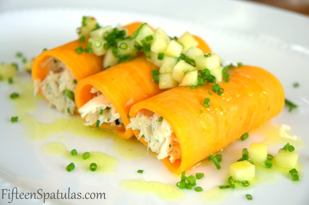 Crab Cannelloni with Sweet Potato Shell and Apple on Top