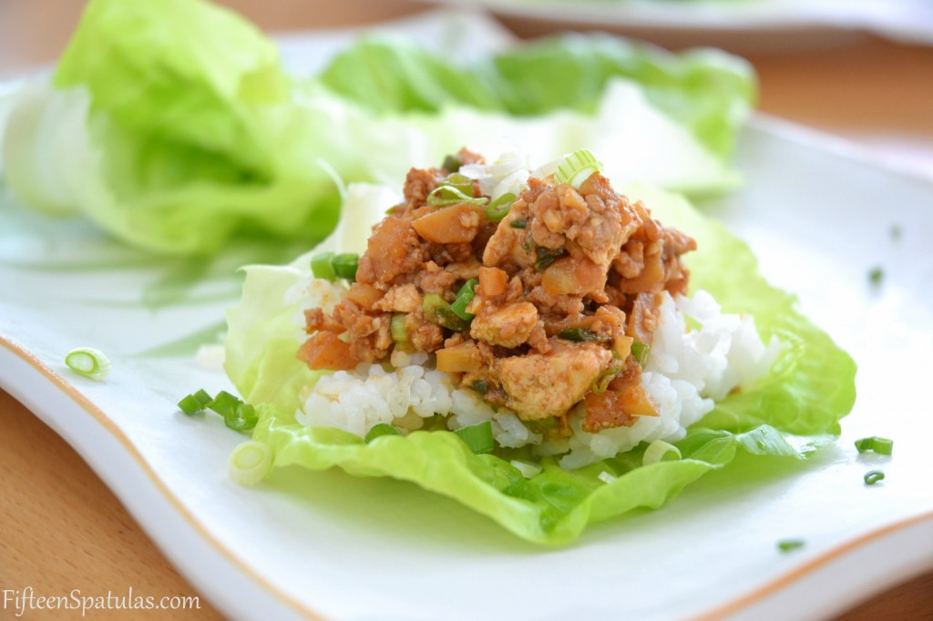Asian Pork Lettuce Wraps @fifteenspatulas