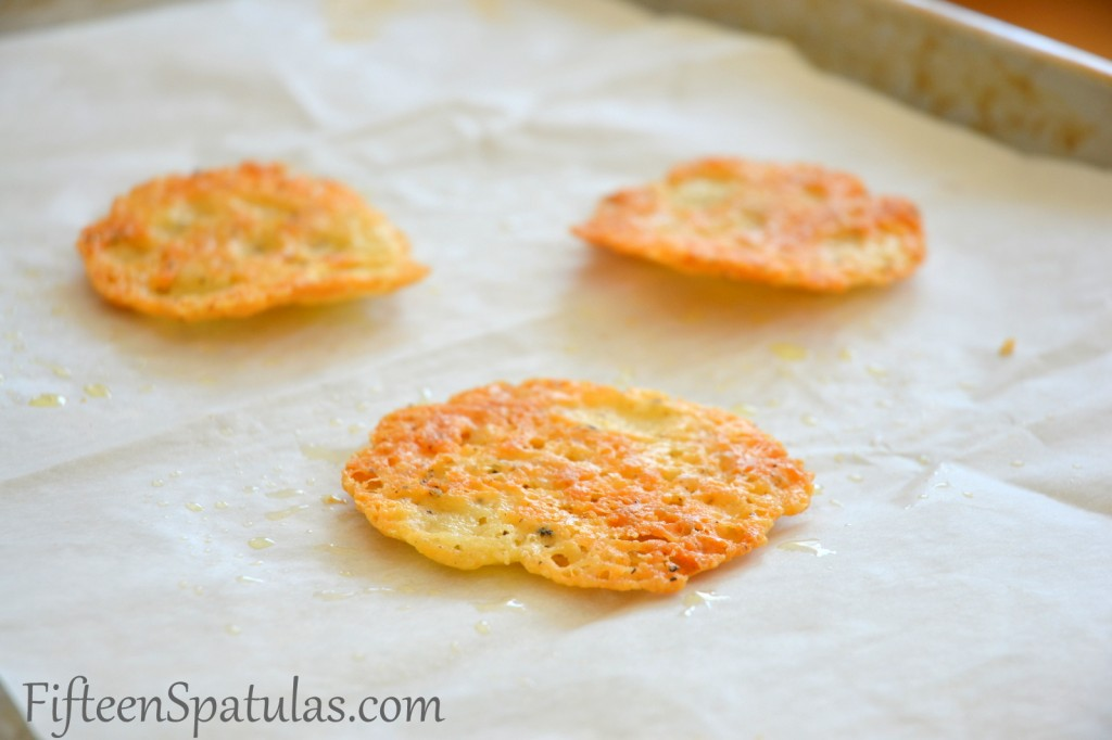 Baked Cheese Black pepper Tuile Crisps on Parchment