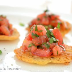 Tomato Herb Salad on black Pepper Cheese Tuiles