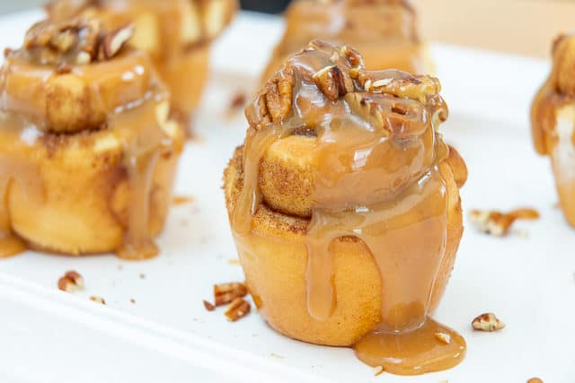 Best Sticky Bun Recipe - Baked in a Muffin Pan with Butterscotch Glaze and Pecan Topping