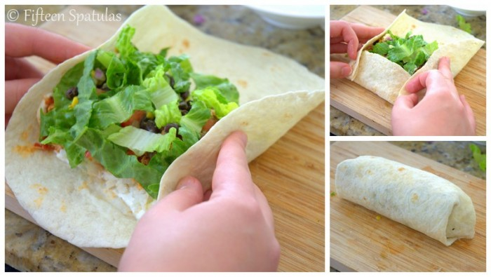 Folding the Flour Tortilla Over Ingredients and Rolling into a Burrito