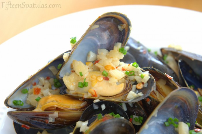 Mussels with White Wine and Garlic on White Dish