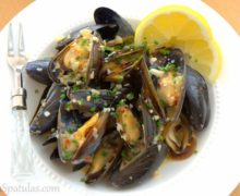 Steamed White Wine Mussels in White Bowl