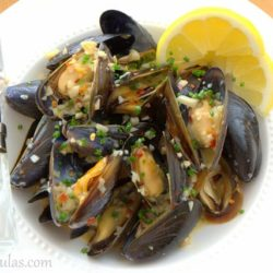White Wine Mussels in White Bowl with Lemon