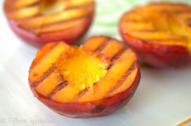 Grilled Peaches on Platter with Grill Marks