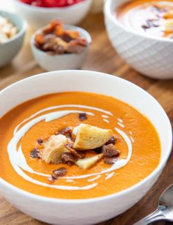 Tomato Bisque - In White bowl with Crouton Garnish