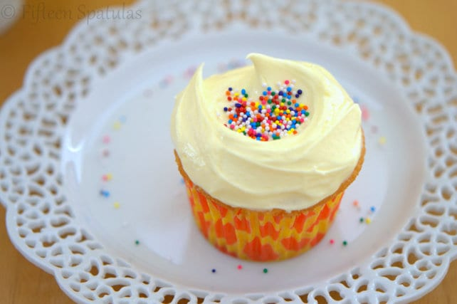 Fluffy White Cupcakes with French Almond Buttercream