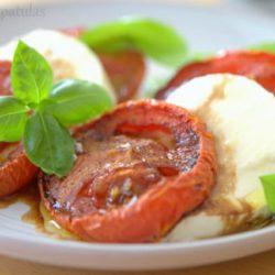 Slow Roasted Tomato Caprese Salad with Basil