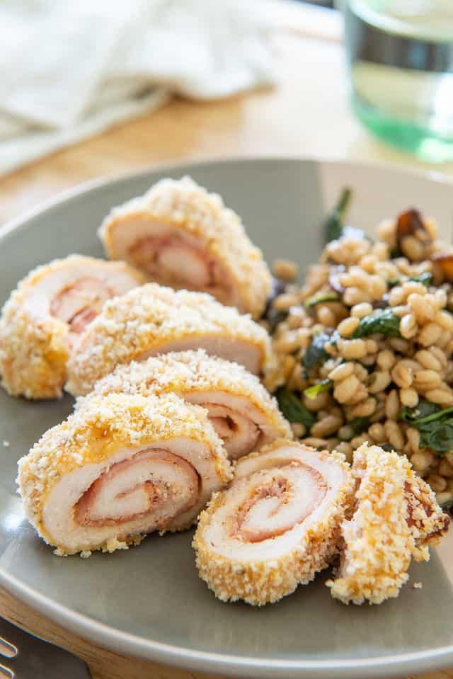 Chicken Cordon Bleu - Thin chicken cutlets stuffed with ham and swiss cheese