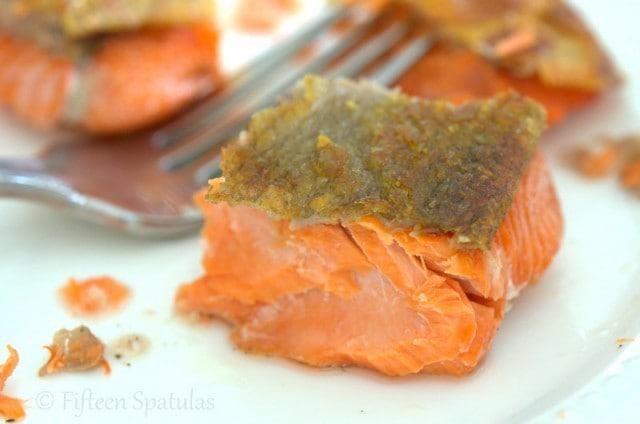 a piece of seared salmon with crispy skin