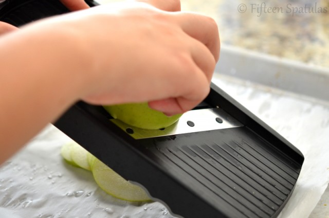 Slicing Apples Thinly with a Mandolin