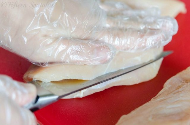 photo of butterflying a chicken breast in half