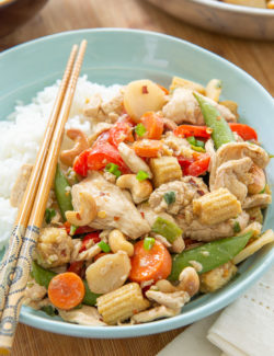 Chicken Stir Fry - Served with Steamed White Rice and Chopsticks